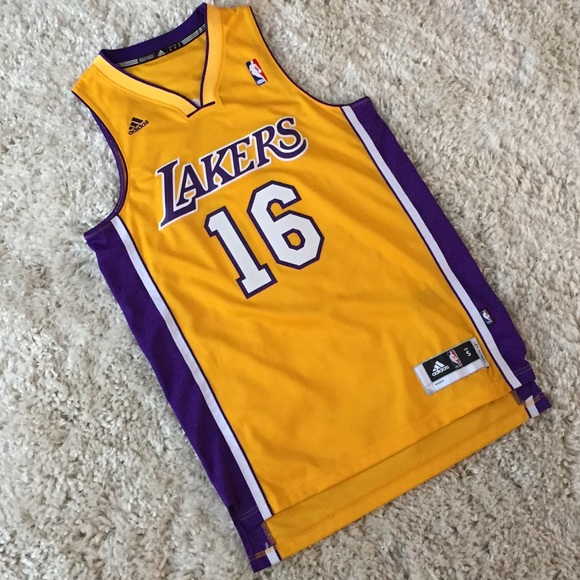 the latest 0cab2 9b57d Adidas Pau Gasol Los Angeles Lakers Jersey Yellow